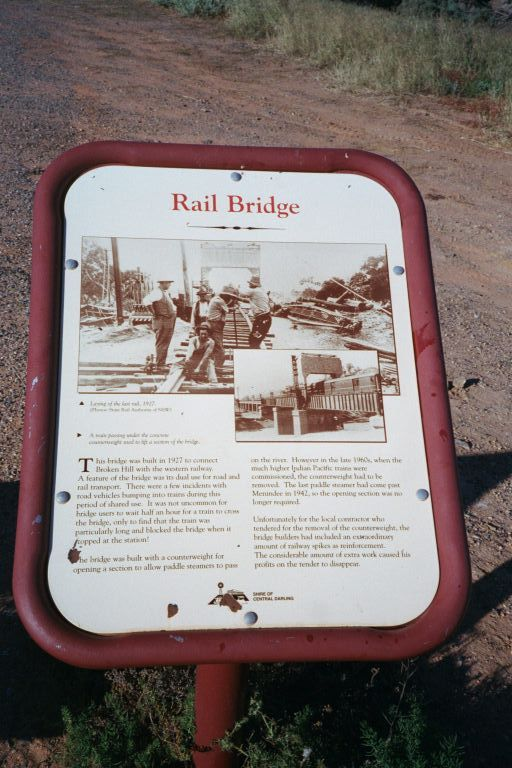 A sign providing information on Menindee's rail history.