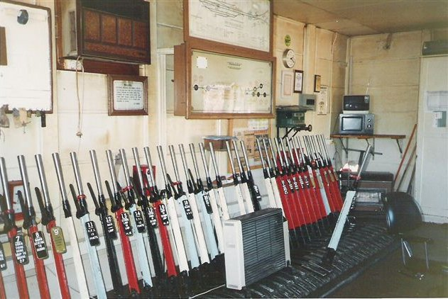 The lever frame inside the signal box.
