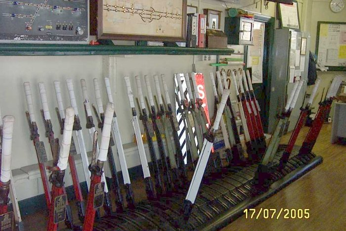 The lever frame inside the signal box on the platform.