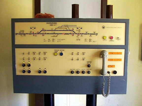 The control panel inside the signal box.