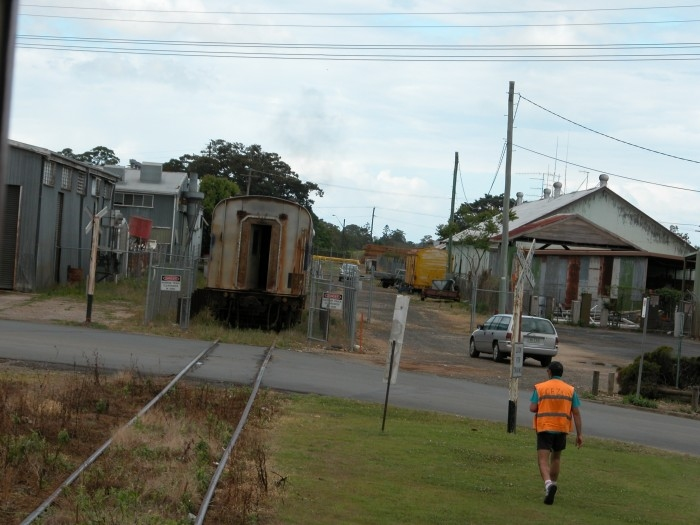 The current end of the line beyond Murwillumbah station towards Condong. The siding holds several former Ritz Rail cars under a new owner. Three more cars had just been delivered when this shot was taken.