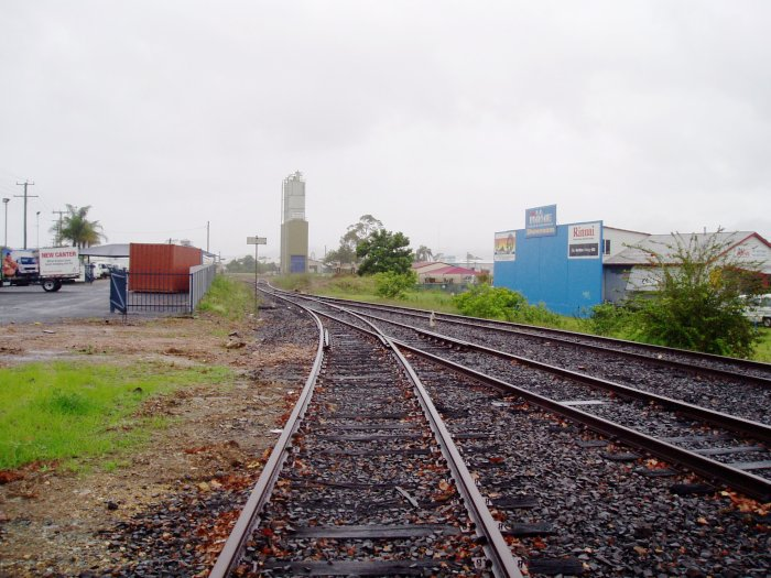 The view looking north beyond the station. The silos in the distance are the Blue Circle Cement silos.