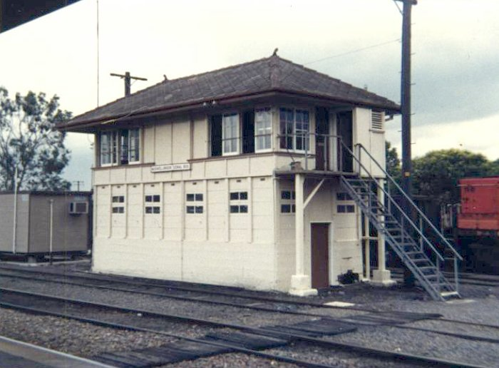 Muswellbrook Signal Box around 1986. The shunters humpy is visible on the left of the shot.