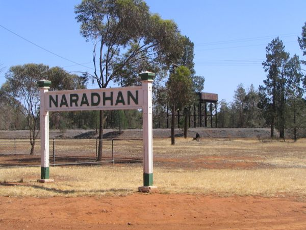An impressive sign at the entrance to the Naradhan railway precinct.