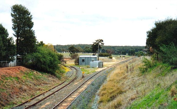 At the western outskirts of the yard the disused line to Tocumwal branches off the the left.  The main line once went all the way to Hay, but now only reaches as far as Wilbriggie.