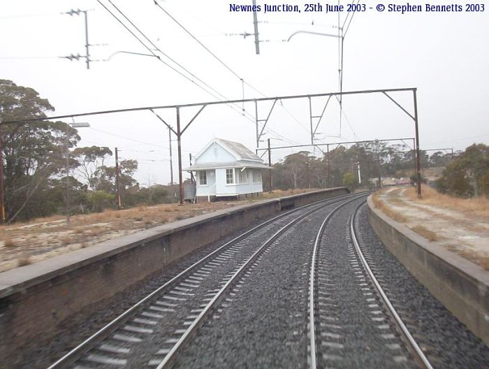 A view of the desolate station, taken from the rear of a down train.