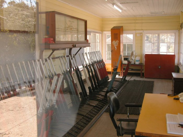 The interior of the signal box showing the lever frame and signal diagram.