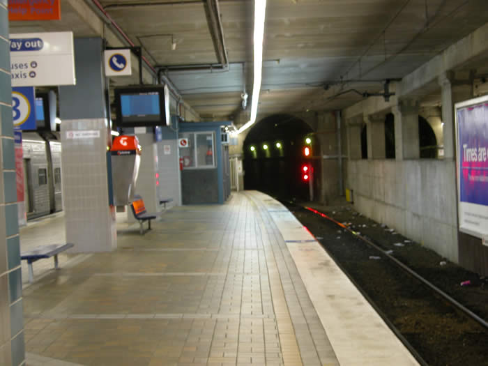 The view looking north along platform 3. This platform is generally used for terminating and starting services.