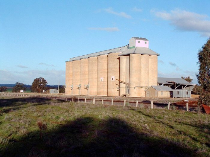 A view looking across to the large complex of silos.