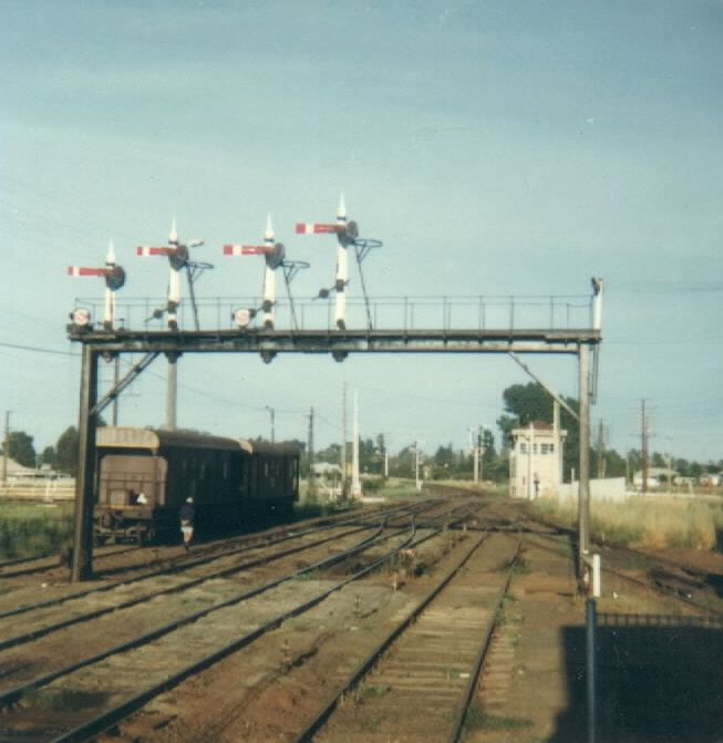 A view of Parkes looking to the west and the box in 1978. The signal box boasted 55 levers and 24 Kellogg Keys.