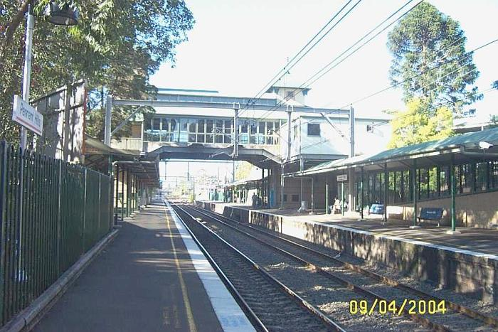The view looking north along the platforms.