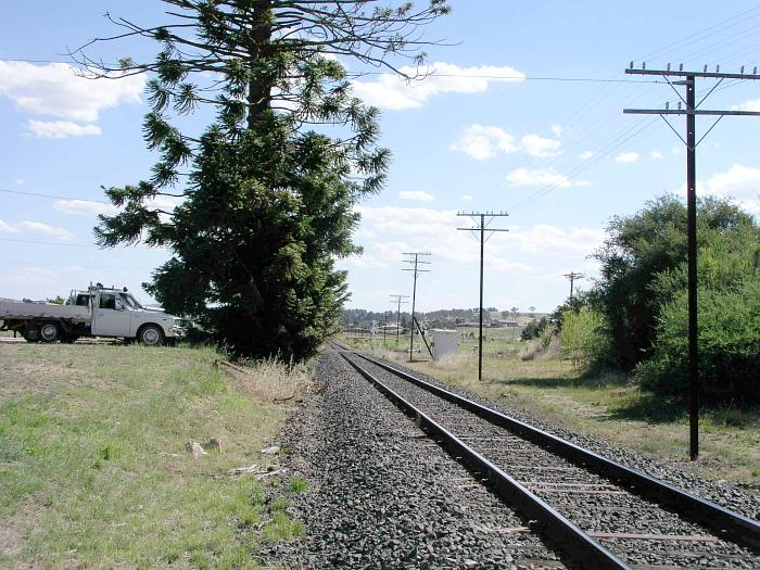 The view looking west towards the platform site.  The one-time station was located just beyond the tree on the left.  The goods shed and platform would have been in the left foreground.