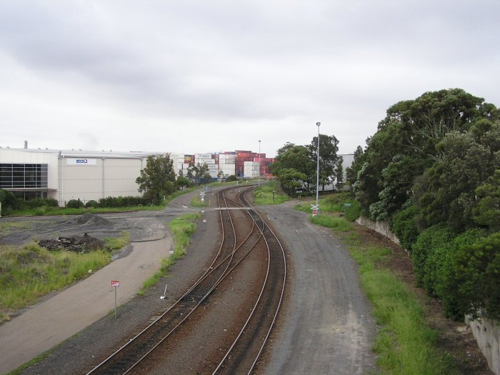 The view looking north from the Botany Road overpass.