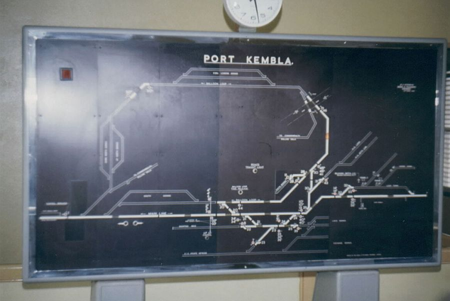The diagram inside Port Kembla signal box.  The diagram shows the balloon loop and nearby siding entrances.  The box used a rotary switch panel.