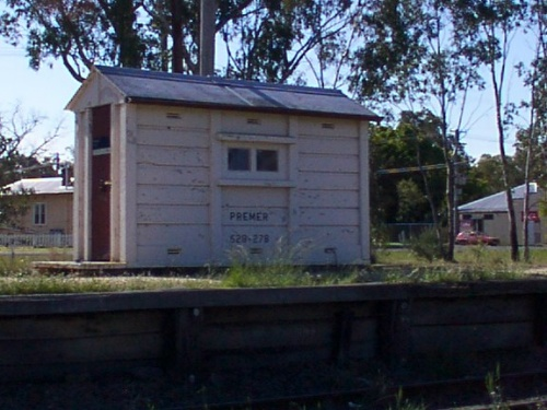 The modern signalling hut sits on the platform.