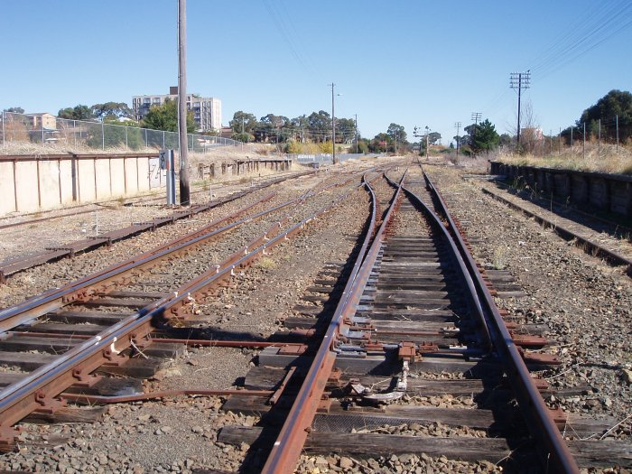 The view looking towards Canberra. On the left is the loading bank and goods platforms, with the stock platform on the right. The goods platform once had a goods shed on it.