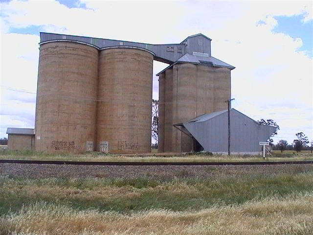The rail-side view of the silos.