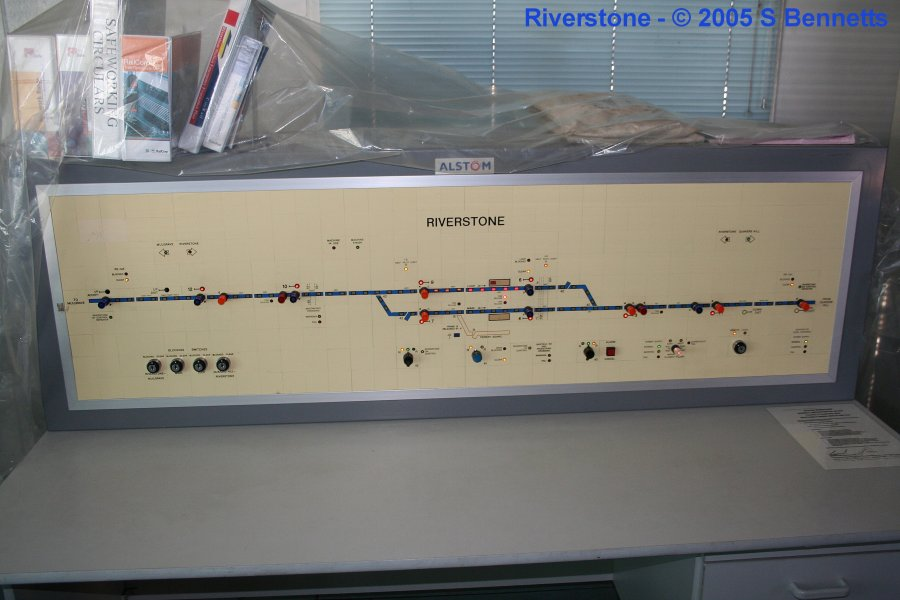 The current signalling board inside the Riverstone Box. It now sits on a desk where the old levers used to be.