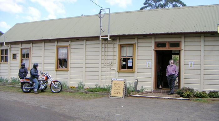 The roadside view of the station building, then being used for a historic railway display.