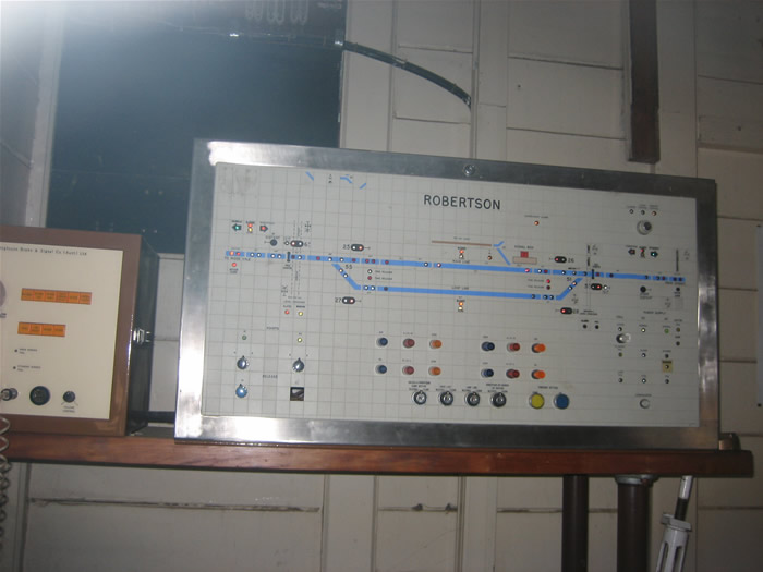 Inside the Roberston control room showing the control panel. The loop and points at Roberston are normally controlled from Wollongong but this panel can be used to take control if necessary.