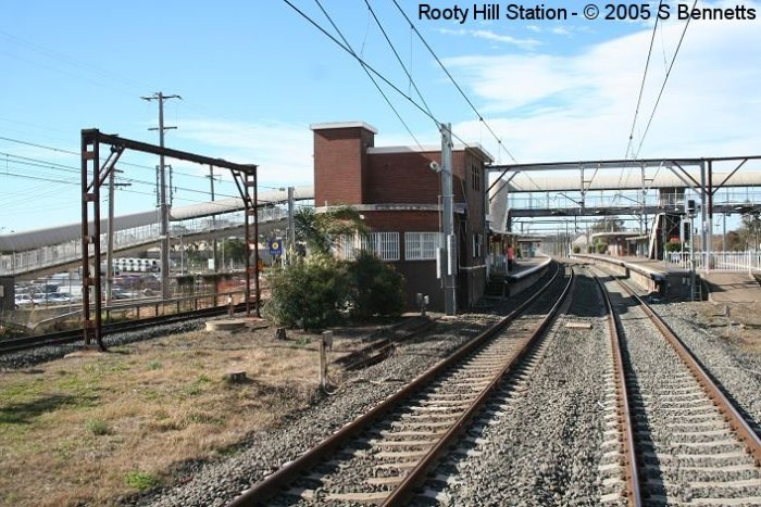A view of the western end of Rooty Hill Station. Curved end of building was once a signal box but is now used as the SM's office and staff facilities.
