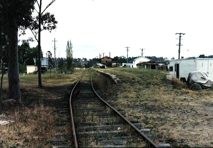 A view of the approach to the dilapidated racecourse station.