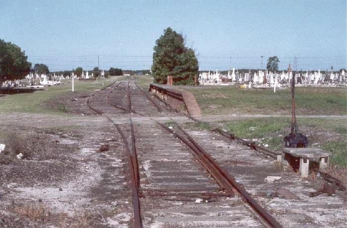 The station and loop, and up lever frame are still substantially intact, in this view taken 7 years after the short branch was closed.