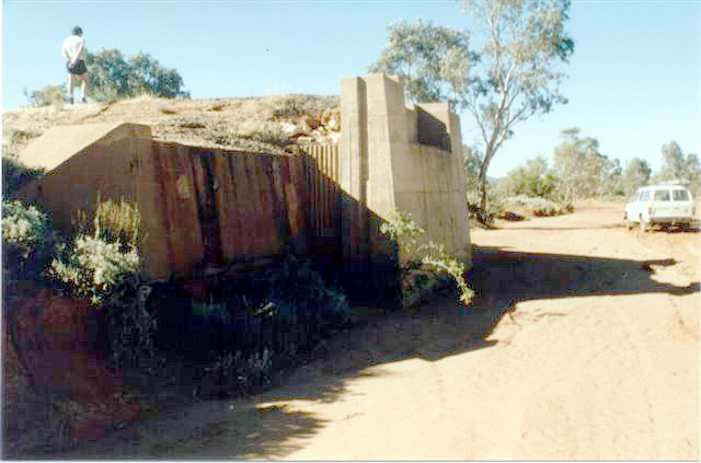 A bridge abutment on the Broken Hill side of Silverton.