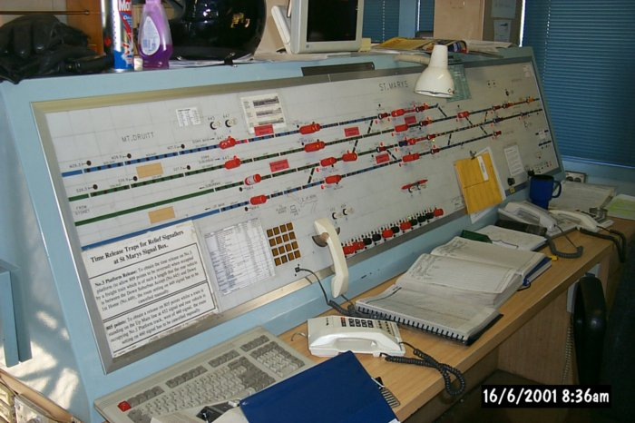 A view of the signaller's control desk at St Marys. Of note is that this is the point where the Main West reduces fro 4 tracks to 2.