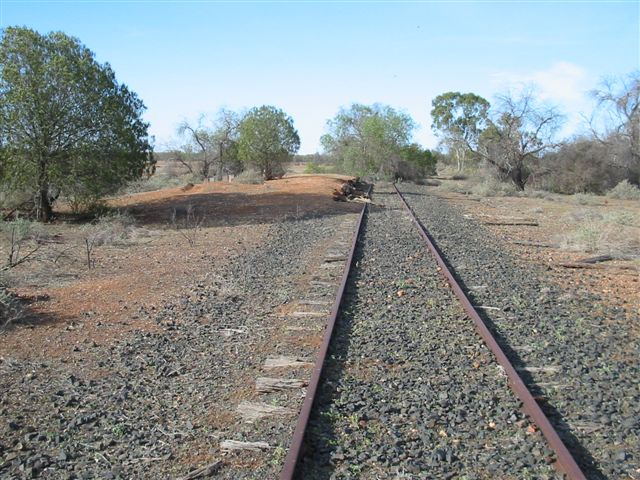 The remains of the station, looking north towards Brewarrina.