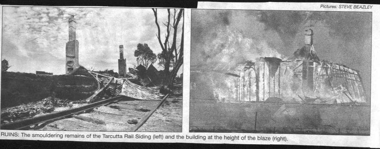 Photos from the newspaper report of the burning down of Tarcutta Station (supplied by Debra Argus).