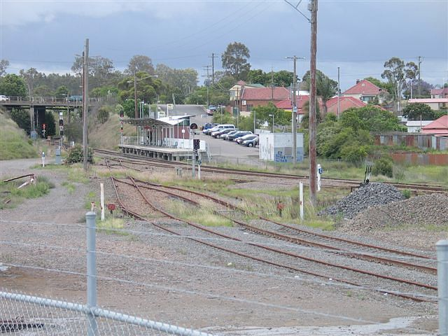 The view of Telarah station from the vicinity of the perway sidings.