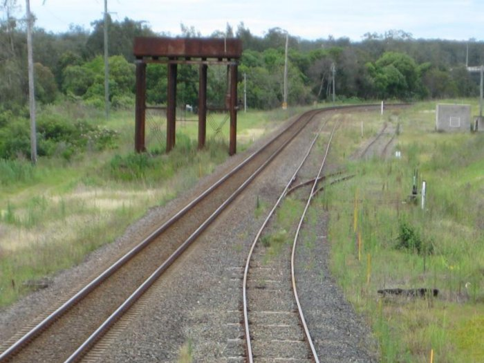 A closer view of the station location, which was opposite the concrete hut, on the left of the tracks. The track in the centre is the loop line, with the former goods siding on the right.