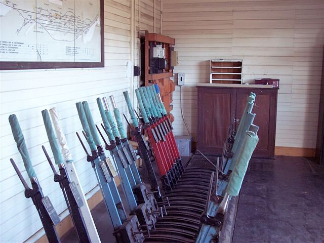 The lever frame in the signal box.
