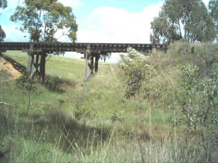 This timber bridge just out of Tumbarumba towards Wagga is still visible from the main road.