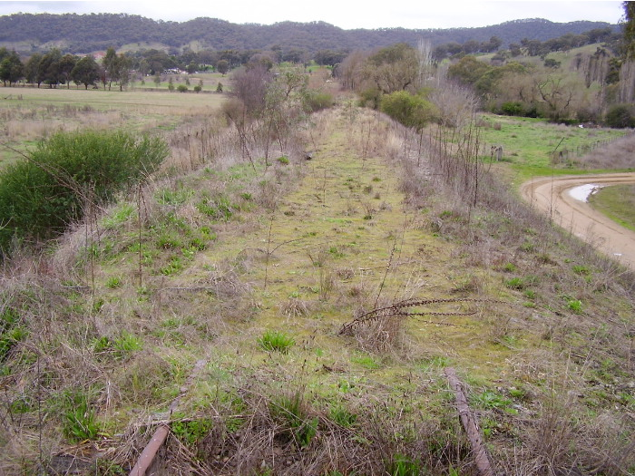 On the eastern side of the bridge the track has also been lifted.  A view of the embankment and earthworks from the eastern end of the timber bridge looking towards Tumut.