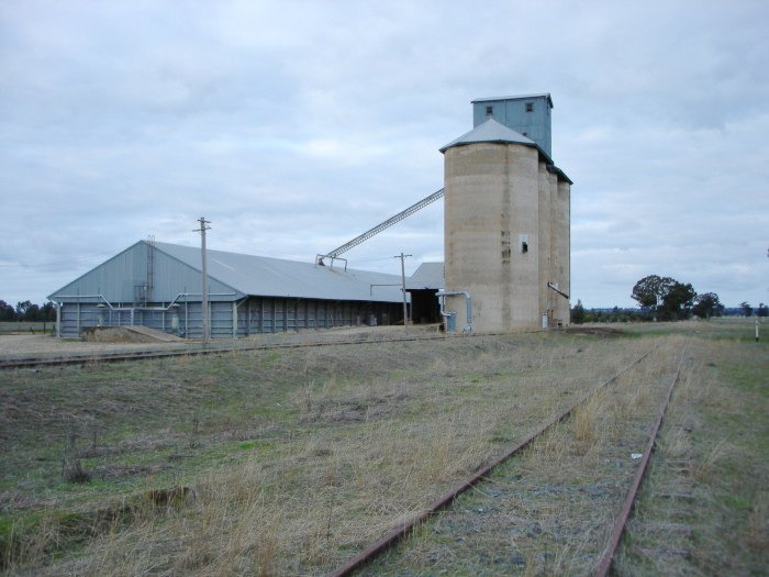 The view looking west towards the silos on the grain siding.