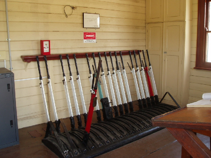 The frame inside the staff hut. Only three of the levers are still in use.