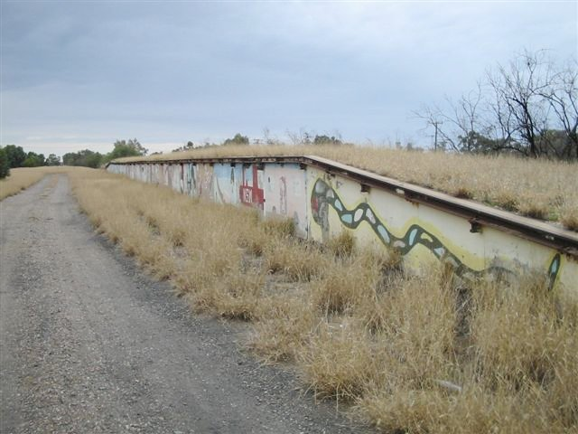The view looking along the painted goods loading bank away form the terminus.