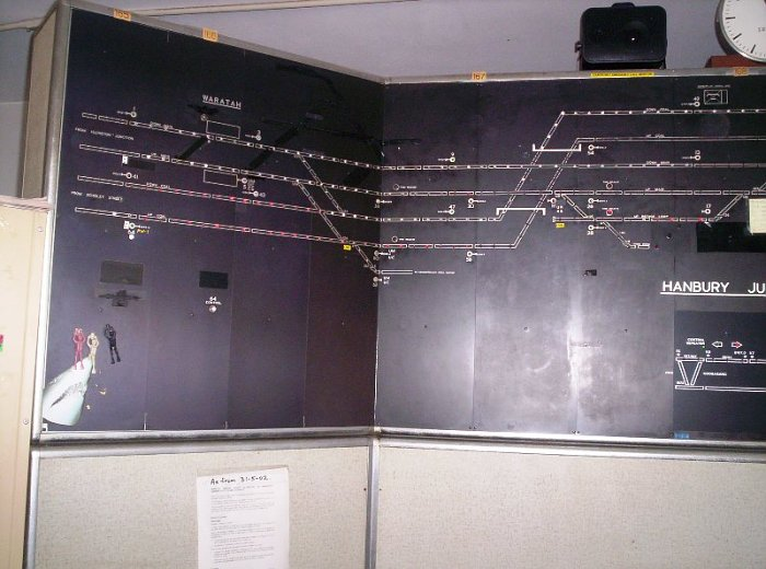 A closer view of the signal diagram in Hanbury Junction signal box.
