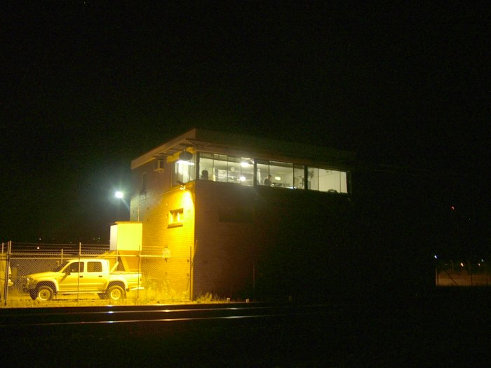 A night view of the Hanbury Junction signal box.