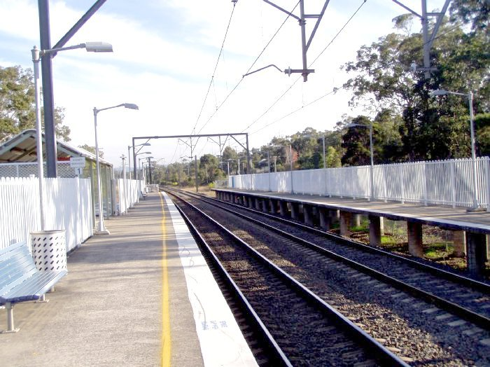 The view looking south along platform 1.