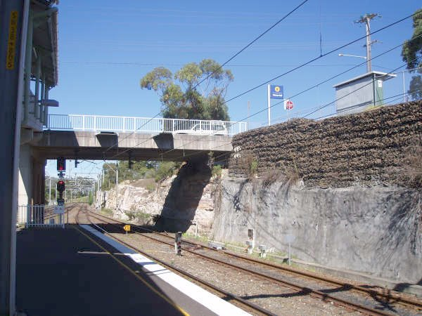 The view looking south showing the road overbridge.