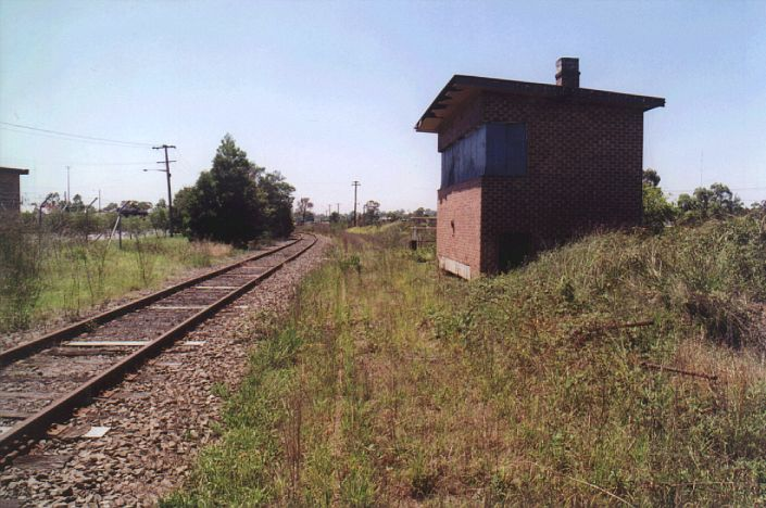 The signal box about 100m to the east of Weston Station.  This controlled  the branch to Pelaw Main and the sidings to nearby Hebburn No 1 Colliery. Just visible in the grass is the remains of the line which branched off to Pelaw Main and the Richmond Vale Railway system.