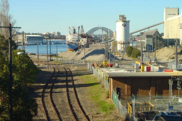The view looking east towards the Balmain loading berths.