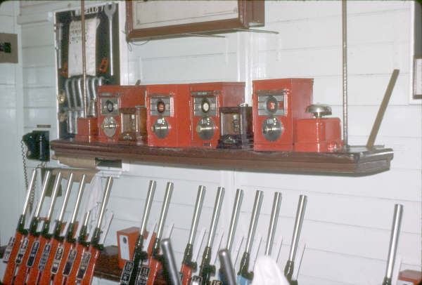 A 1980 picture showing the interior of Wingello Signal Box showing the block instruments.