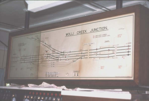 The diagram in Wolli Creek Junction Signal Box showing the line to East Hills running behind the Box.
