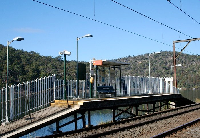A view of the short Sydney side platform on the banks of Mullet Creek.