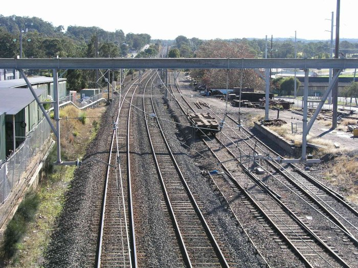 The view looking north from the road bridge just to the north of the station. Visible on the right is the loadng platform on the former stock siding.