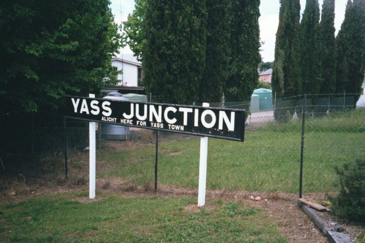 The station name board from the nearby Yass Junction station has been moved down to the museum.